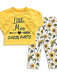 ราคาถูก -ทารก เด็กผู้หญิง ซึ่งทำงานอยู่ ทุกวัน ลายดอกไม้ แขนยาว ปกติ เส้นใยสังเคราะห์ ชุดเสื้อผ้า สีเหลือง