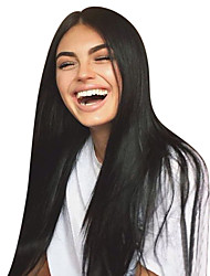 Недорогие -Не подвергавшиеся окрашиванию Необработанные натуральные волосы Лента спереди Парик Средняя часть Свободная часть Kardashian стиль Бразильские волосы Прямой Природа Черный Парик 130% Плотность волос
