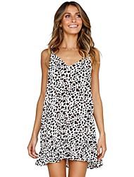 Недорогие -платье для женщин / пляжное мини платье с завышенной талией с v-образным вырезом белый s m l xl