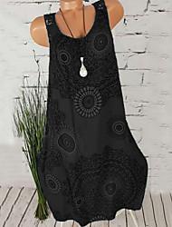 Недорогие -Жен. Большие размеры Пляж Прямое Платье - Цветочный принт, С принтом U-образный вырез До колена / Сексуальные платья