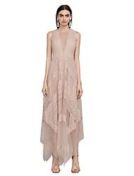 billige -A-linje V-splitt Ankellang Blonder Formell kveld Kjole med Blondeinnlegg av TS Couture®