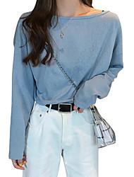 olcso -női ázsiai méretű vékony póló - színes, kerek nyak