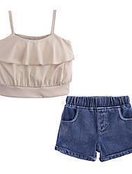お買い得  -子供 / 幼児 女の子 ストリートファッション 日常 / お出かけ ソリッド ノースリーブ コットン / ポリエステル アンサンブル カーキ色