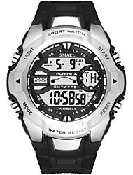 Недорогие -Муж. Спортивные часы электронные часы Цифровой Стеганная ПУ кожа Черный / Синий / Красный Защита от влаги Фосфоресцирующий Крупный циферблат Цифровой На каждый день Мода -