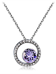 cheap -Women's Purple Crystal Amethyst Classic Simulated Pendant Necklace Silver Plated Imitation Diamond Sun Classic Fashion Elegant Cool Silver 43 cm Necklace Jewelry 1pc For Daily Formal