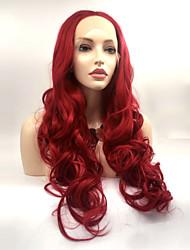 hesapli -Sentetik Dantel Ön Peruk Kadın's Su Vanası Kırmızı Katmanlı Saç Kesimi % 130 İnsan Saç Yoğunluk Sentetik Saç 24 inç Kadın Kırmızı Peruk Uzun Ön Dantel Kırmızı yeşil Sylvia