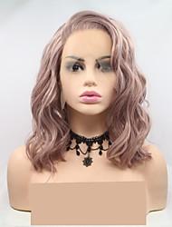 halpa -Synteettiset pitsireunan peruukit Naisten Laineita Vaaleanpunainen Kerroksittainen leikkaus 130% Hiuksista Density Synteettiset hiukset 12 inch Naisten Vaaleanpunainen Peruukki Lyhyt Lace Front Pinkki