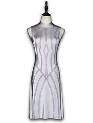 お買い得  -ラテンダンス ドレス 女の子 性能 スパンデックス グリッター素材 / クリスタル / ラインストーン ノースリーブ ドレス