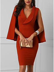 Недорогие -Жен. Тонкие Облегающий силуэт Оболочка Платье V-образный вырез Средней длины