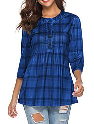 Недорогие -женская хлопковая футболка - гусиная лапка вокруг шеи