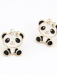 hesapli -Kadın's Klasik Vidali Küpeler - Simüle Elmas Panda Moda, sevimli Stil Mücevher Beyaz / Pembe Uyumluluk Hediye Günlük / 1 çift