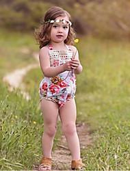 お買い得  -赤ちゃん 女の子 ストリートファッション 日常 フラワー ノースリーブ ポリエステル ボディスーツ ホワイト