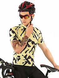 お買い得  -FirtySnow 男性用 半袖 サイクリングジャージー - ブラック / イエロー ゼブラ柄 バイク ジャージー, 高通気性 速乾性 ポリエステル / 伸縮性あり