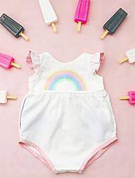 お買い得  -赤ちゃん 女の子 ストリートファッション 日常 プリント ノースリーブ ポリエステル ボディスーツ ホワイト