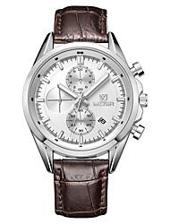 Недорогие -Муж. Наручные часы Кварцевый Кожа Коричневый Календарь Аналоговый Мода - Белый / Нержавеющая сталь