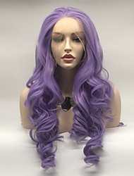 voordelige -Pruik Lace Front Synthetisch Haar Dames Watergolf Paars Gelaagd kapsel 130% Human Hair Density Synthetisch haar 24 inch(es) Dames Paars Pruik Lang Kanten Voorkant Paars Sylvia