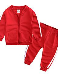 levne -Dítě Chlapecké Na běžné nošení / Základní Denní / Sport Jednobarevné Dlouhý rukáv Standardní Standardní Bavlna Sady oblečení Světlá růžová