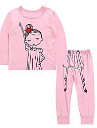 abordables -Niños / Bebé Chica Activo / Básico Diario Caricatura Estampado Manga Larga Regular Regular Algodón Conjunto de Ropa Rosa