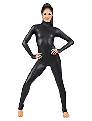 """Недорогие -Костюмы на все тело """"зентай"""" Костюмы кошки Кожаный костюм Девушка мотоцикла Взрослые Косплэй костюмы Черный Однотонный Спандекс Блестящий металл Муж. Жен. Хэллоуин / Эластичность"""