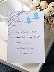 Недорогие -Плоские Свадебные приглашения 20 - Ответ карты Цветочный стиль Розовая бумага