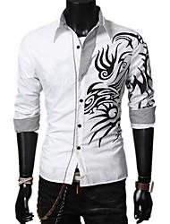Недорогие -Муж. Рубашка Классический Геометрический принт / Контрастных цветов
