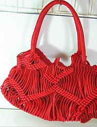 baratos -Mulheres Bolsas Poliéster Tote Vazados Branco / Preto / Vermelho