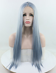 Недорогие -Синтетические кружевные передние парики Прямой Синий Свободная часть Чистый синий 180% Человека Плотность волос Искусственные волосы 18-26 дюймовый Жен. Регулируется / Кружева / Жаропрочная Синий