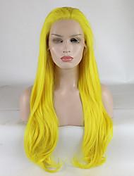 voordelige -Pruik Lace Front Synthetisch Haar Dames Gekruld Goud Gratis deel 180% Human Hair Density Synthetisch haar 18-26 inch(es) Verstelbaar / Kant / Hittebestendig Goud Pruik Lang Kanten Voorkant Geel