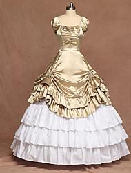 Недорогие -Classic Lolita Викторианский стиль Средневековый Платья С пышной юбкой Жен. Девочки Satin Японский Косплей костюмы Черный / Цвет зеленой мяты / Изумрудно-зеленый Лолита Без рукавов В пол