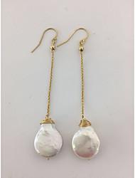 hesapli -1 çift Kadın's İnci Örgülü Halka Küpeler - 18K Altın Kaplama Mücevher Beyaz Uyumluluk Doğumgünü Tatil