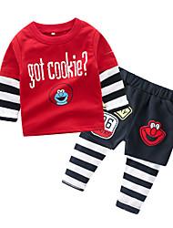 ราคาถูก -ทารก เด็กผู้ชาย พื้นฐาน ทุกวัน ลายแถบ แขนยาว ปกติ ฝ้าย / เส้นใยสังเคราะห์ ชุดเสื้อผ้า ทับทิม