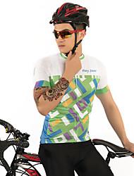 お買い得  -FirtySnow 男性用 半袖 サイクリングジャージー - グリーン グラフィック バイク ジャージー, 高通気性 速乾性 ポリエステル / 伸縮性あり