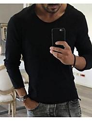baratos -t-shirt asiático tamanho masculino - pescoço redondo colorido sólido