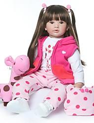 Недорогие -NPKCOLLECTION NPK DOLL Куклы реборн Кукла для девочек Девочки 24 дюймовый как живой Новый дизайн Искусственная имплантация Коричневые глаза Детские Девочки Игрушки Подарок