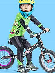 お買い得  -SANTIC 男の子 長袖 タイツ付きサイクリングジャージー - グリーン バイク 高通気性, 速乾性 カートゥン / 伸縮性あり