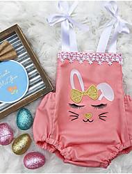お買い得  -赤ちゃん 女の子 ストリートファッション 日常 プリント ノースリーブ ポリエステル ボディスーツ ピンク