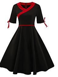 Недорогие -Жен. Элегантный стиль А-силуэт Платье - Однотонный Выше колена