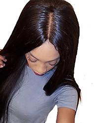 Недорогие -Необработанные натуральные волосы Лента спереди Парик Бразильские волосы Вытянутые Черный Парик 130% Плотность волос с детскими волосами Шелковистость с клипом Glueless Черный Жен.