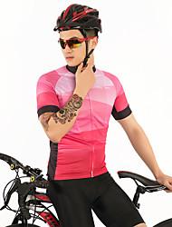 お買い得  -FirtySnow 男性用 半袖 サイクリングジャージー - ピンク ソリッド チェック / 格子柄 バイク ジャージー, 高通気性 速乾性 ポリエステル / 伸縮性あり