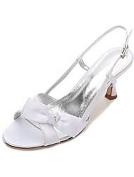 hesapli -Kadın's Ayakkabı Saten İlkbahar yaz Tatlı Düğün Ayakkabıları Kıvrımlı Topuk Yuvarlak Uçlu Düğün / Parti ve Gece için Fiyonk / Işıltılı Pullar Mavi / Açık Kahverengi / Kristal