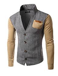 ราคาถูก -เสื้อยืดแขนยาวผู้ชาย - บล็อคสี / ยืนเรขาคณิตสีกากี m
