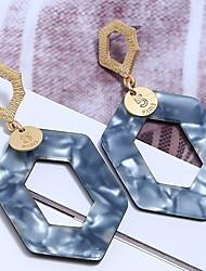お買い得  -女性用 幾何学的 ドロップイヤリング  -  樹脂, ゴールドメッキ スタイリッシュ, シンプル ジュエリー グレー / コーヒー / ネービーブルー 用途 パーティー ストリート 祝日 / 1ペア