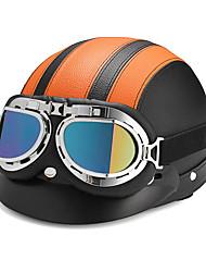 Недорогие -ретро мотоцикл полуоткрытый кожаный шлем скутер с ультрафиолетовыми очками