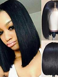 Недорогие -Не подвергавшиеся окрашиванию Лента спереди Парик Бразильские волосы Шелковисто-прямые Черный Парик Короткий Боб 130% Плотность волос / Природные волосы / Парик в афро-американском стиле