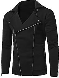 ราคาถูก -สำหรับผู้ชาย ทุกวัน ฤดูใบไม้ร่วง & ฤดูหนาว ปกติ แจ๊คเก็ต, สีพื้น Rolled collar แขนยาว ฝ้าย สีดำ / สีน้ำเงินกรมท่า XL / XXL / XXXL