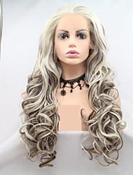 お買い得  -合成レースフロントウィッグ 女性用 カール / ウェーブ 白 レイヤード・ヘアカット 130% 人間の毛髪密度 合成 24 インチ 女性 / カラーグラデーション 白 / ライトブラウン かつら ロング フロントレース ブラウン / ホワイト Sylvia