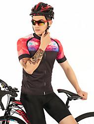 お買い得  -FirtySnow 男性用 半袖 サイクリングジャージー - 黒 / 赤 ソリッド パッチワーク バイク ジャージー, 高通気性 速乾性 ポリエステル / 伸縮性あり