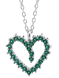 cheap -Women's Green Classic Pendant Necklace S925 Sterling Silver Heart Simple Trendy Cute Silver 41 cm Necklace Jewelry 1pc For Wedding Engagement