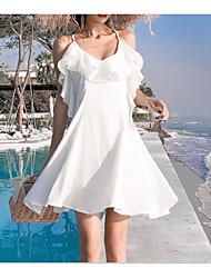 abordables -Femme Basique Au dessus du genou Trapèze Robe Blanc S M L Sans Manches