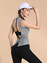 cheap Sports & Outdoors-Women's Crew Neck Open Back Running Tank Top Dark Blue Light Grey Burgundy Sports Solid Color Tank Top Yoga Running Fitness Sleeveless Activewear Breathable Quick Dry Soft High Elasticity / Winter